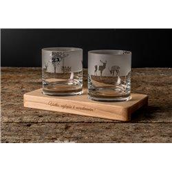 Príroda - gravírované poháre na drevenom podstavci - Great Vibes