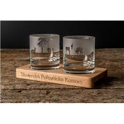 Príroda - gravírované poháre na drevenom podstavci - Font Arcon