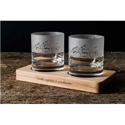 Cyklisti - gravírované poháre na drevenom podstavci - Great Vibes