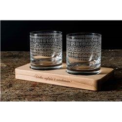 Folklórny motív (čičmanský)- gravírované poháre na drevenom podstavci - Great Vibes