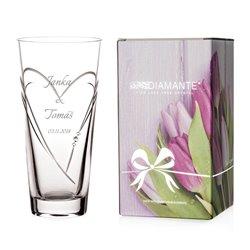 Hearts vrátane gravírovania - 25cm konická váza - Italianno