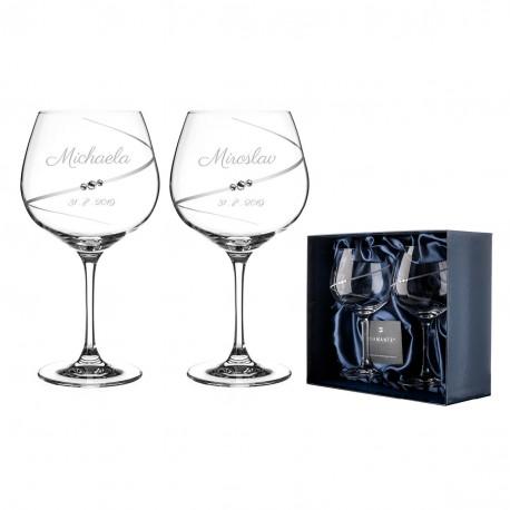 Silhouette pár extra veľkých pohárov na červené víno burngundy/gin s gravírovaním
