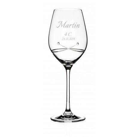 Pohár na stužkovú Kiss so Swarovski® Elements - víno