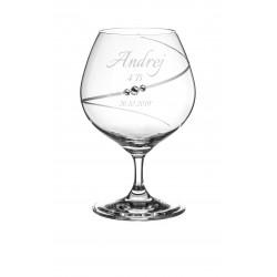 Pohár na stužkovú Silhouette so Swarovski® Elements - brandy