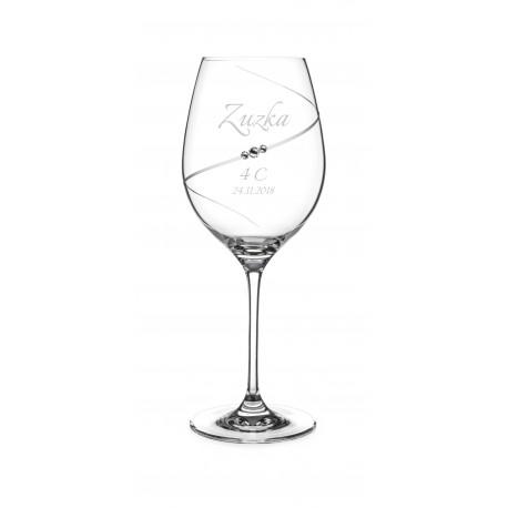 Pohár na stužkovú Silhouette so Swarovski® Elements – červené víno