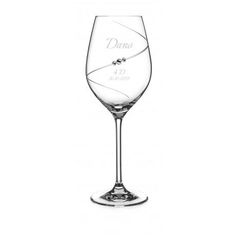 Pohár na stužkovú Silhouette so Swarovski® Elements – biele víno