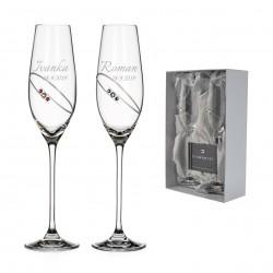 Diamond Ring svadobné poháre na šampanské - gravírovanie zdarma