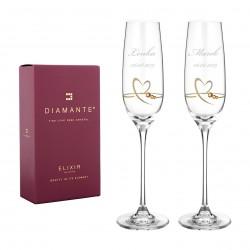 Srdce zo zlata - svadobné poháre na šampanské