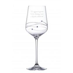 Spiral víno s modrými Swarovski kamienkami - vlastné gravírovanie