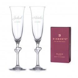 L'amour svadobné poháre na šampanské - číre