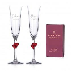 L'amour svadobné poháre na šampanské - červené srdce