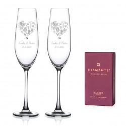 Folklór Hearts - poháre na šampanské s gravírovaním