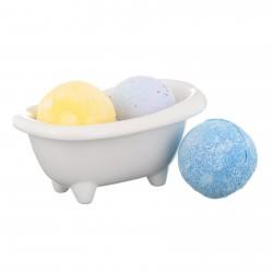 Darčekový set - Keramická mini vanička a mix 3 šumivých bômb do kúpeľa
