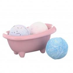 Darčekový set - Biela keramická mini vanička a mix 3 šumivých bômb do kúpeľa