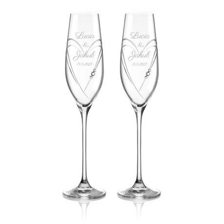 Dva Hearts svadobné poháre na šampanské - vrátane gravírovania písmom Parisienne