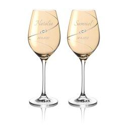 Gold Silhouette pár na biele víno s gravírovaním