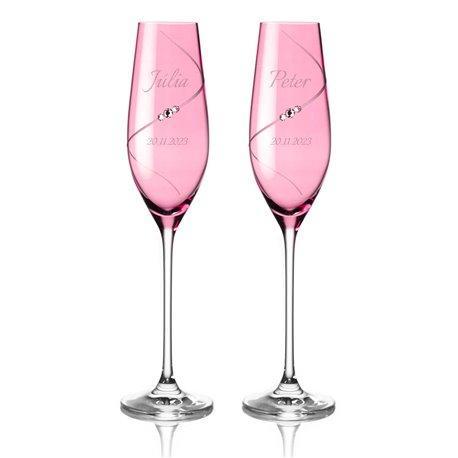 Pink Silhouette pár svadobných pohárov na šampanské s gravírovaním – Parisienne