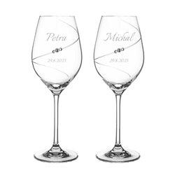 Silhouette pár svadobných pohárov na biele víno s gravírovaním