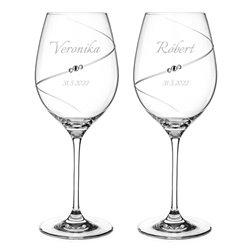 Silhouette pár svadobných pohárov na čerevné víno s gravírovaním