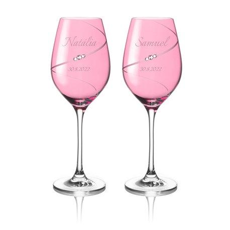 Pink Silhouette pár na biele víno s gravírovaním