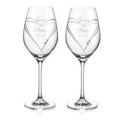 Dva svadobné poháre Hearts na biele a ružové víno - vrátane gravírovania písmom Parisienne