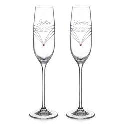 Simply Hearts Rose - svadobné poháre na šampanské