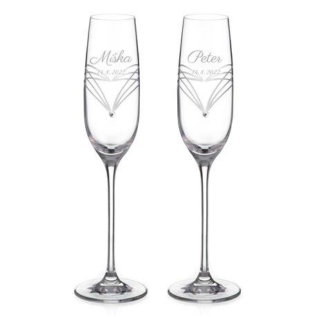 Simply Hearts s krištáľovými kamienkami - svadobné poháre na šampanské