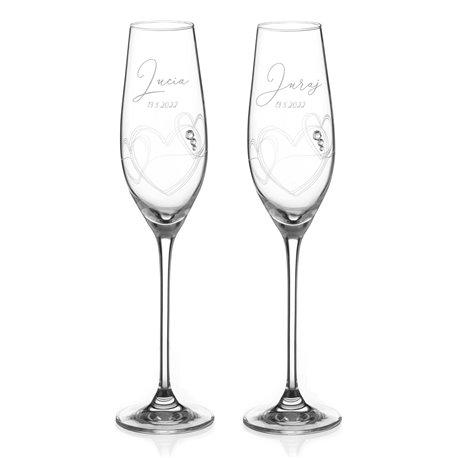 String of Love - gravírované poháre na šampanské