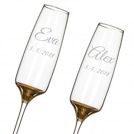 Elixir Gold - zlaté svadobné poháre s gravírovaním - šampanské