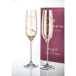 Gold Romance - svadobné poháre s gravírovaním - šampanské