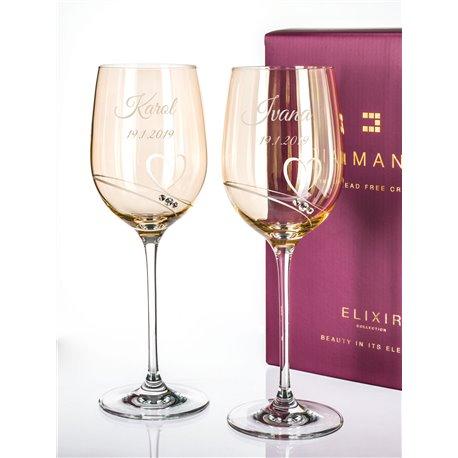 Gold Romance - víno - svadobné poháre s gravírovaním