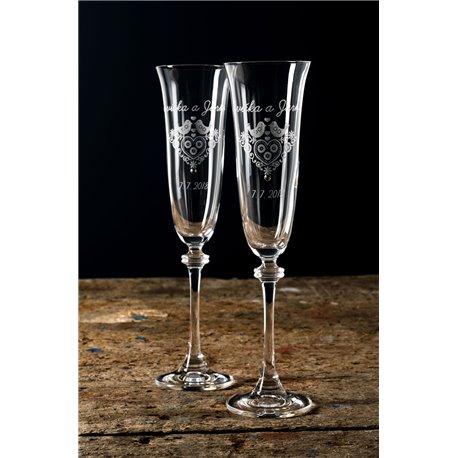 Folklór šampanské - gravírované poháre na šamanské 2 kusy