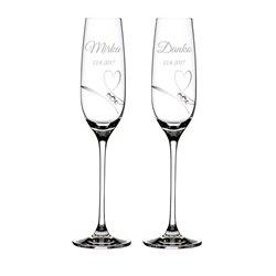 Romance - svadobné poháre s gravírovaním