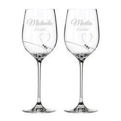 Romance veľké víno - svadobné poháre s gravírovaním
