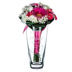 Romance - 25cm váza pre svadobnú kyticu s gravírovaním